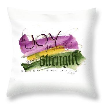 Joy Strength II Throw Pillow by Judy Dodds