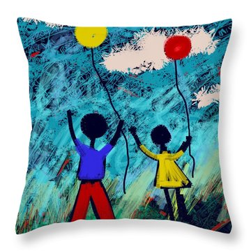 Joy Unfettered Throw Pillow by Elaine Lanoue