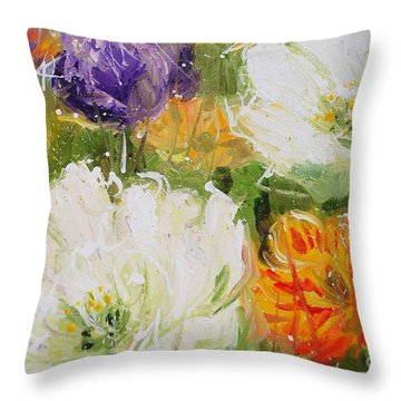 Joy With Tulips Throw Pillow