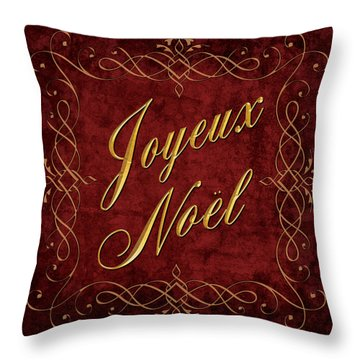 Joyeux Noel In Red And Gold Throw Pillow by Caitlyn  Grasso