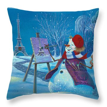 Joyeux Noel Throw Pillow by Michael Humphries