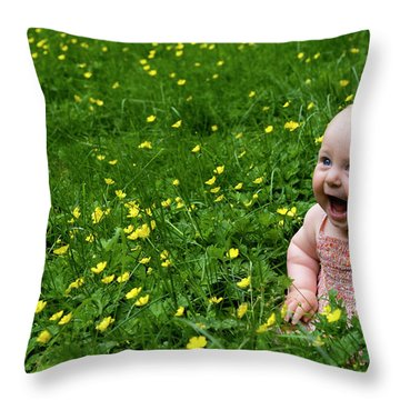 Joyful Baby In Flowers Throw Pillow