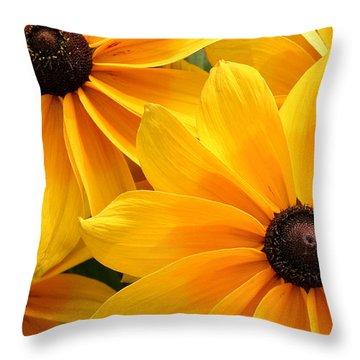 Joyful Bright Yellow Flowers  Throw Pillow