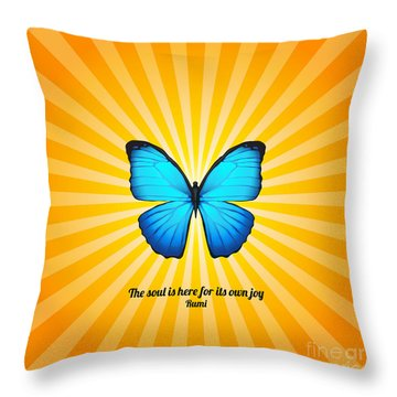 Joyful Butterfly With Quote By Rumi Throw Pillow by Ginny Gaura