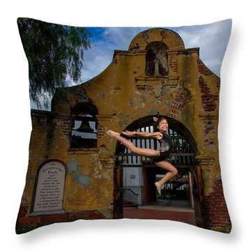Throw Pillow featuring the photograph Joyful Jump by Robert Hebert