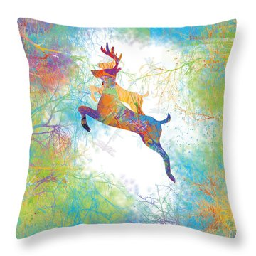 Throw Pillow featuring the digital art Joyful Leaps by Trilby Cole