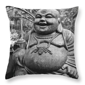 Joyful Lord Buddha Throw Pillow by Karon Melillo DeVega