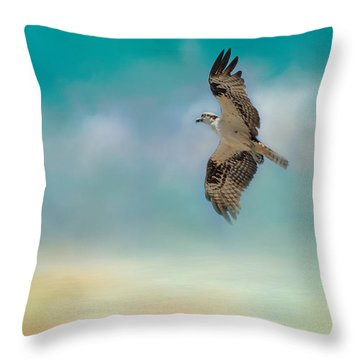 Joyful Morning Flight - Osprey Throw Pillow by Jai Johnson