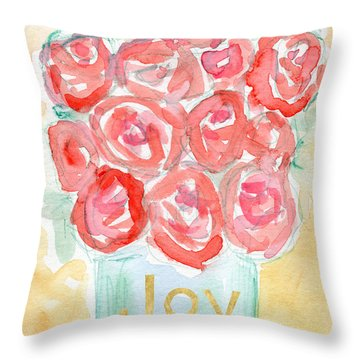 Joyful Roses- Art By Linda Woods Throw Pillow