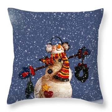 Throw Pillow featuring the digital art Joyful Snowman by Jean Moore