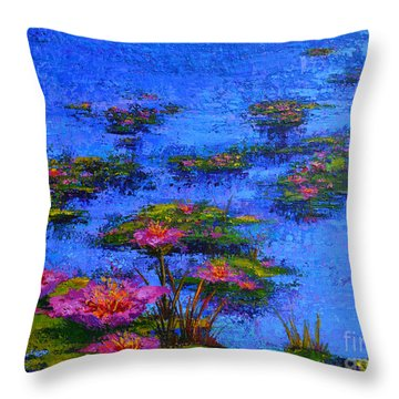 Throw Pillow featuring the painting Joyful State - Modern Impressionistic Art - Palette Knife Landscape Painting by Patricia Awapara