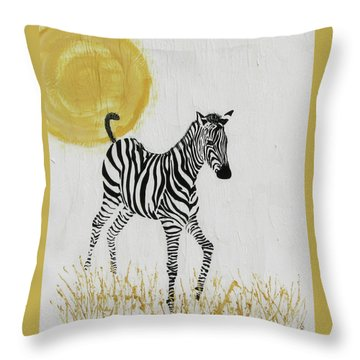 Throw Pillow featuring the painting Joyful by Stephanie Grant