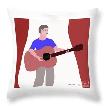 Joyful Young Musician Throw Pillow