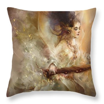 Throw Pillow featuring the digital art Joyment by Te Hu