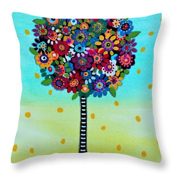 Throw Pillow featuring the painting Jubilant Tree Of Life by Pristine Cartera Turkus
