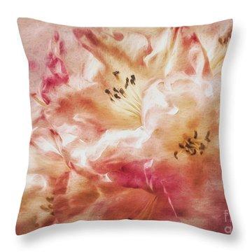 Jubilee Blush Throw Pillow by Jean OKeeffe Macro Abundance Art