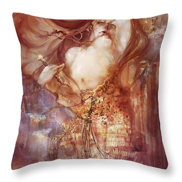Throw Pillow featuring the digital art Judith V2 by Te Hu