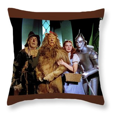 Judy Garland And Pals The Wizard Of Oz 1939-2016 Throw Pillow by David Lee Guss