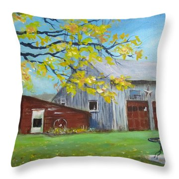Throw Pillow featuring the painting Judy's Barn by Carol Hart