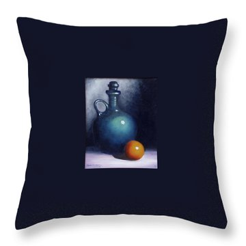 Jug And Orange. Throw Pillow