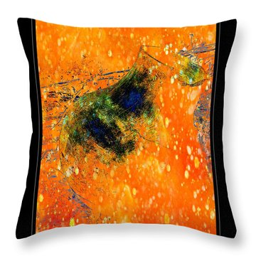 Jug In Black And Orange Throw Pillow