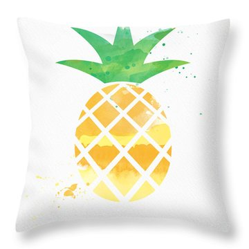 Juicy Pineapple Throw Pillow by Linda Woods