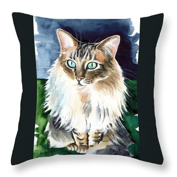 Juju - Cashmere Bengal Cat Painting Throw Pillow