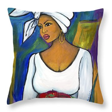 Throw Pillow featuring the painting Juju by Diane Britton Dunham