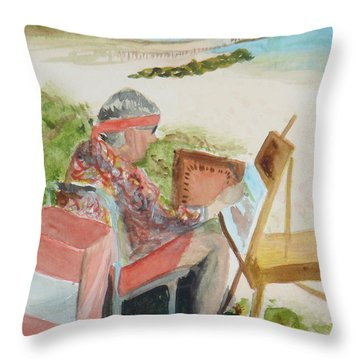 Throw Pillow featuring the painting Julia Painting At Boynton Inlet Beach  by Donna Walsh