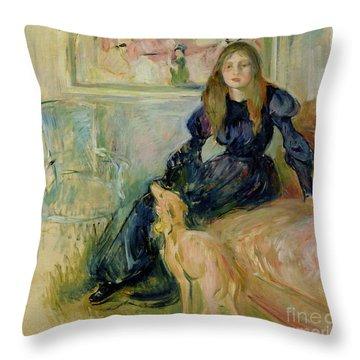 Julie Manet And Her Greyhound Laerte Throw Pillow by Berthe Morisot