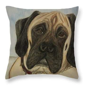 Julie's Dog Lounging Throw Pillow by Christy Saunders Church