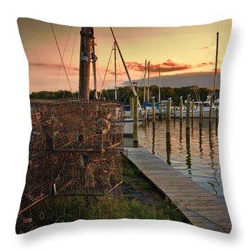 Crab Pots And Sailboats Throw Pillow