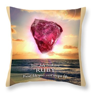 July Birthstone Ruby Throw Pillow