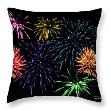 July Fireworks Montage Throw Pillow