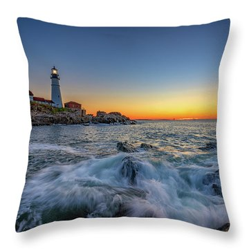 July Sunrise At Portland Head Throw Pillow