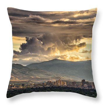 July Sunset Over Reno Throw Pillow