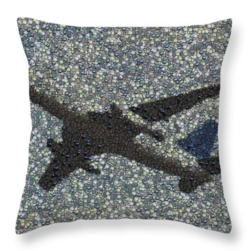 Throw Pillow featuring the mixed media Jumbo Jet Airplane Made Of Cockpit Panel Dials Mosaic by Paul Van Scott