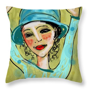 Jump For Joy Throw Pillow by Elaine Lanoue