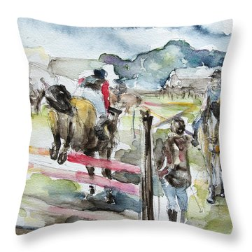 Jumping A Course Throw Pillow by Barbara Pommerenke