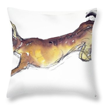 Jumping Hare Throw Pillow by Lucy Willis