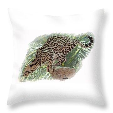 Pouncing Ocelot Throw Pillow