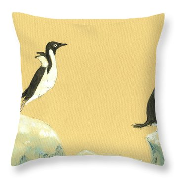 Jumping Penguins Throw Pillow