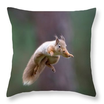 Jumping Red Squirrel Throw Pillow