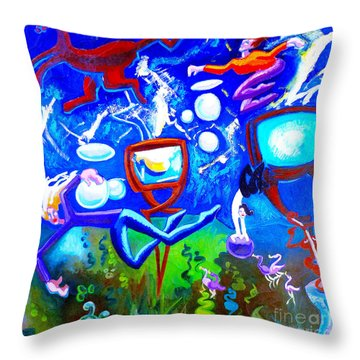 Throw Pillow featuring the painting Jumping Through Tv Land by Genevieve Esson