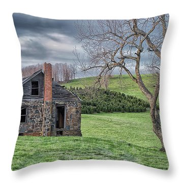 Junaluska Road Christmas Tree Farm Throw Pillow