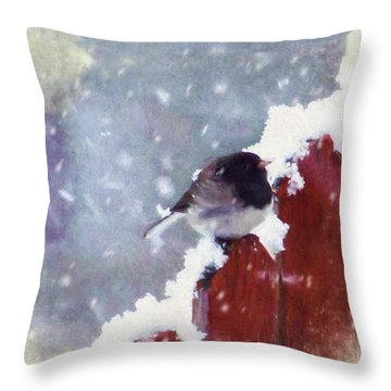 Junco In The Snow, Square Throw Pillow