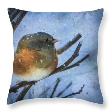 Throw Pillow featuring the digital art Junco On Winter Day by Christina Lihani