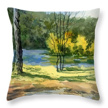 Junction Of White And Spring Rivers Throw Pillow