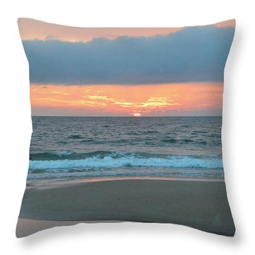 Throw Pillow featuring the photograph June 20 Nags Head Sunrise by Barbara Ann Bell