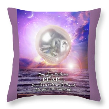 June Birthstone Pearl Throw Pillow